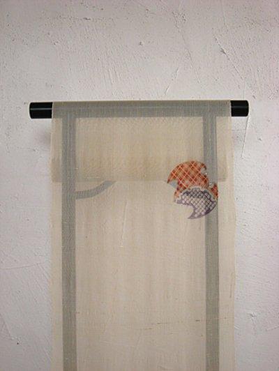 画像2: 絹芭蕉生成り地名古屋帯*蝙蝠(未仕立)