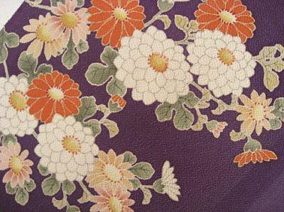 画像2: 縮緬紫色地名古屋帯*菊模様(未仕立)