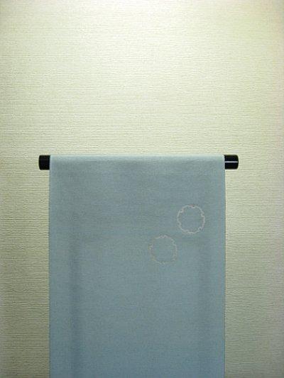画像2: 新古濱紬ブルーグレー色地名古屋帯*角(未仕立)