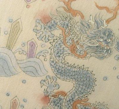画像1: 野蚕糸浜紬香色地名古屋帯*龍(未仕立)