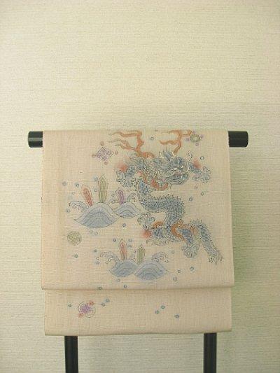 画像3: 野蚕糸浜紬香色地名古屋帯*龍(未仕立)