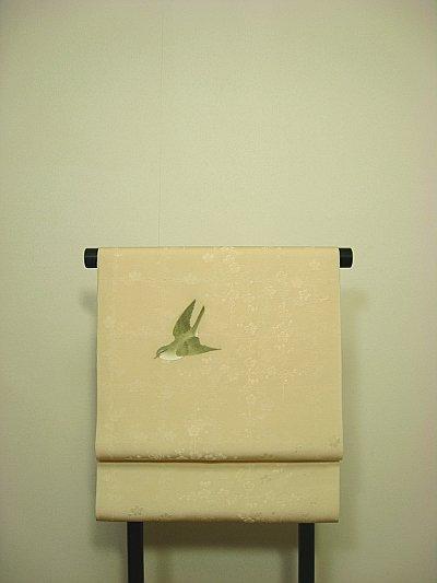 画像3: 新古梅紋綸子香色地名古屋帯*鶯(未仕立)