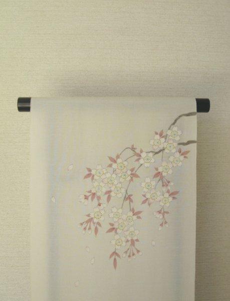 画像1: 新古江美上代紬白地名古屋帯*枝垂れ桜(未仕立) (1)
