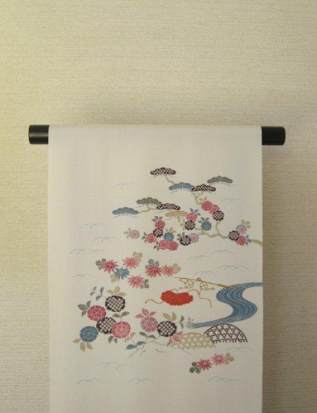 画像1: 塩瀬白地名古屋帯*御所解(未仕立) (1)