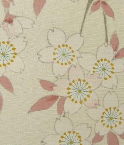 画像1: 新古江美上代紬白地名古屋帯*枝垂れ桜(未仕立)