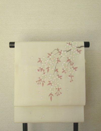 画像3: 新古江美上代紬白地名古屋帯*枝垂れ桜(未仕立)