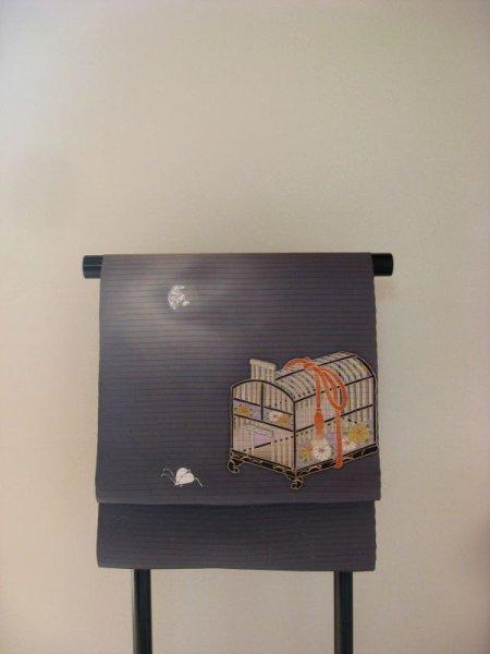 画像1: 塩瀬絽濃墨色地名古屋帯*月に虫籠(未仕立て) (1)