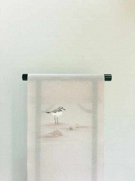 画像1: 五泉駒絽薄桜鼠色地名古屋帯*チドリ(未仕立) (1)