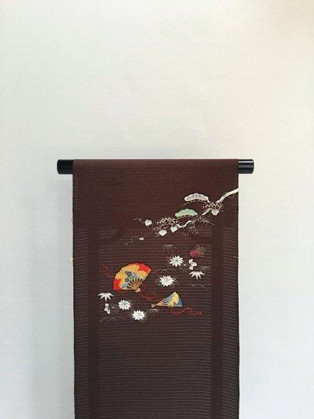 画像1: 五泉塩瀬絽濃茶色地刺繍入り名古屋帯*班女(未仕立) (1)