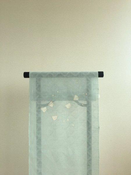 画像1: 新古紋紗水色地名古屋帯*千鳥(未仕立) (1)