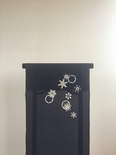 画像1: 新古五泉駒絽紫紺色地名古屋帯*結晶(未仕立) (1)