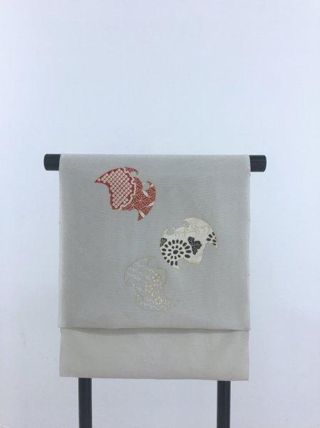 画像1: 新古駒絽薄墨色地名古屋帯*蝙蝠(未仕立) (1)