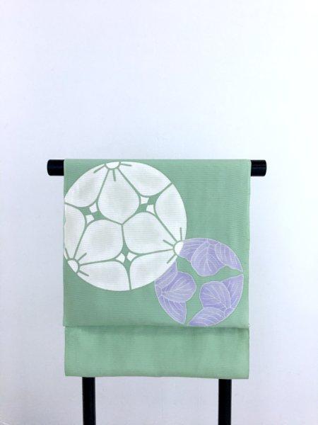画像1: 新古駒絽青磁色地名古屋帯*桔梗紋(未仕立) (1)
