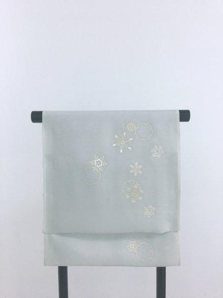画像1: 新古絽シルバーグレー地名古屋帯*結晶(未仕立) (1)