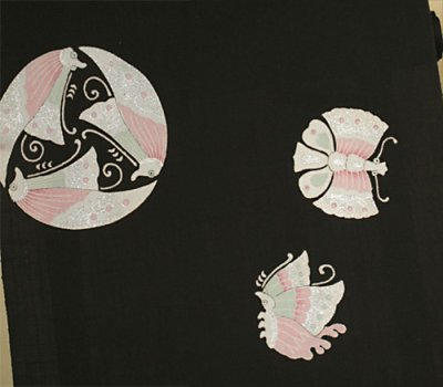 画像3: 新古紬黒色地名古屋帯*蝶紋(未仕立)