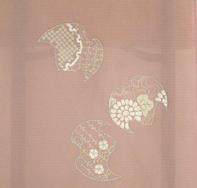 画像2: 新古駒絽灰桜色地名古屋帯*蝙蝠(未仕立)