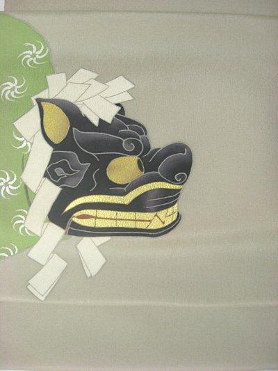 画像1: ちりめん紬薄墨色地名古屋帯*獅子頭(未仕立)