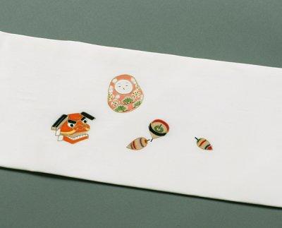 画像3: 塩瀬白色地名古屋帯*干支玩具(未仕立)