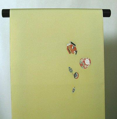 画像3: 塩瀬くちなし色地名古屋帯*干支玩具(未仕立)