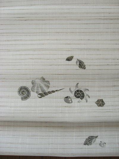 画像3: 長浜夏紬ぜんまい横縞地名古屋帯*貝殻(未仕立)