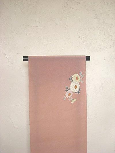 画像3: 縮緬灰桜色地名古屋帯*菊模様(未仕立)