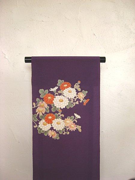 画像1: 縮緬紫色地名古屋帯*菊模様(未仕立) (1)