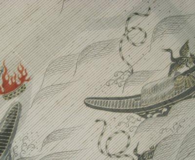 画像1: 長浜ぜんまい夏紬地名古屋帯*鵜飼い(未仕立)