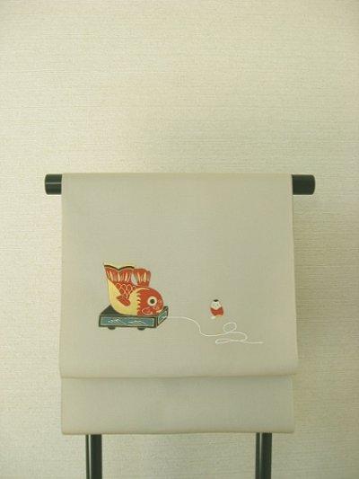 画像3: 新古塩瀬砂色地名古屋帯*赤物2(未仕立)