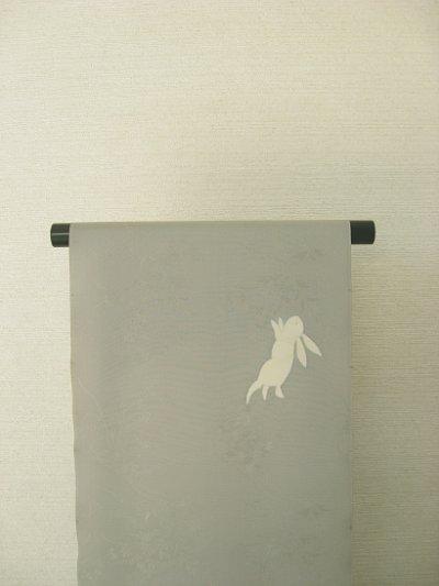 画像2: 新古紋意匠薄墨色地名古屋帯*月うさぎ(未仕立)