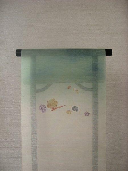 画像1: 丹後夏紬地名古屋帯*貝殻(未仕立) (1)